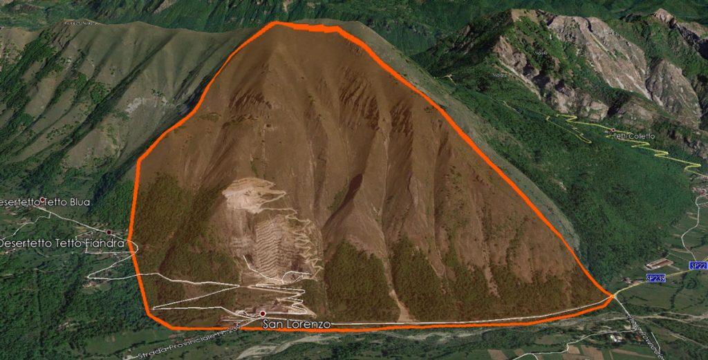 Inquadramento sito valanghivo Monte Piastra su Google Earth