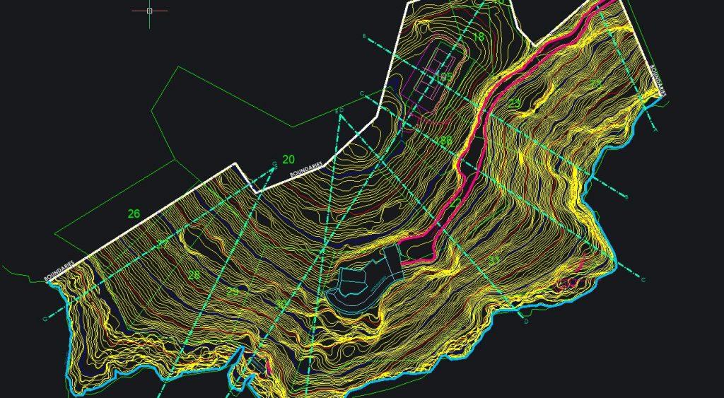 planimetria secondo curve di livello dell'area rilevata