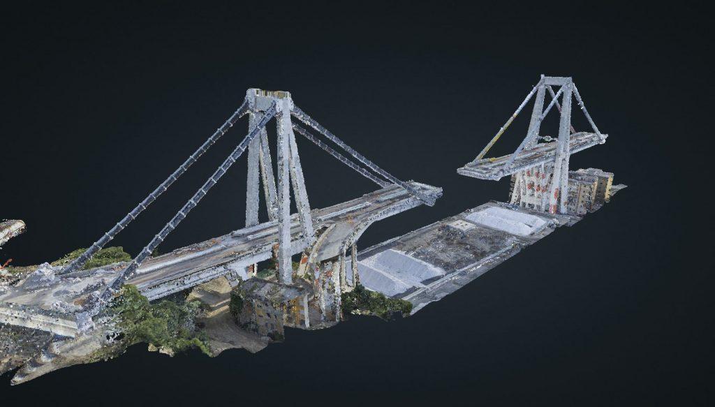 Rilievo del Ponte Morandi - modello 3D delle Pile 10 e 11.