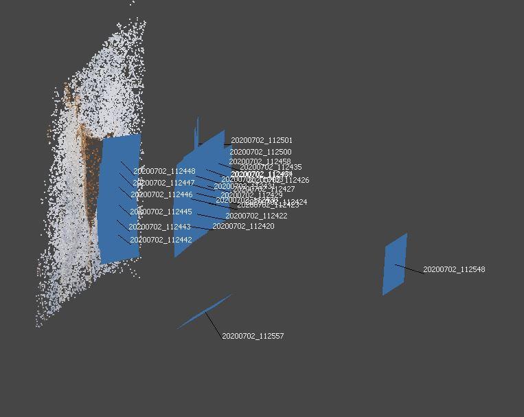 Allineamento delle immagini nel software structure from motion