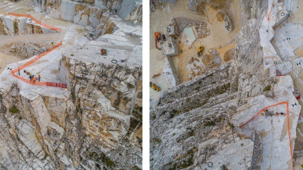 Zone esposte a cadute dall'alto in cava